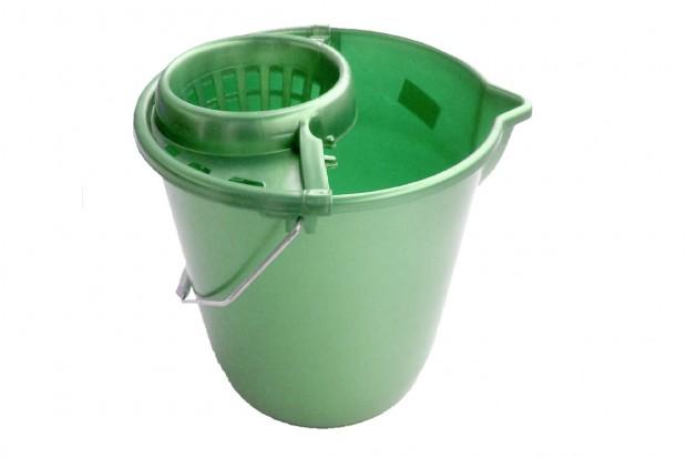 Кофа кръг с цедка и метална дръжка 12 l тъмно зелена
