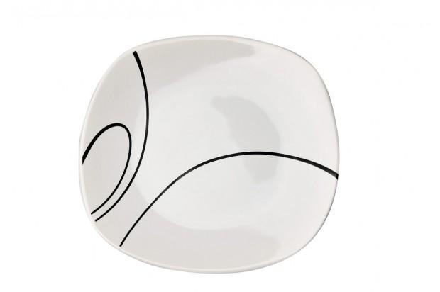 Чиния плитка 24 cm м.3093 G010+s.l. бяло, черти 1 CESIRO