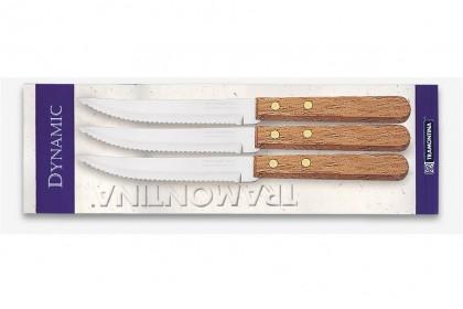 Нож за стек с дървена дръжка, комплект 3 бр.  Блистер