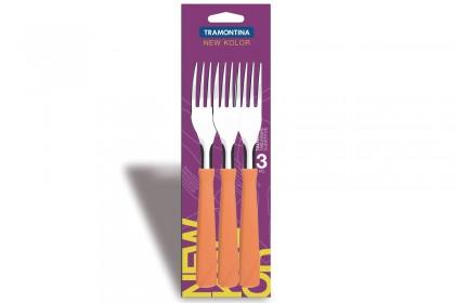 Вилица за основно хранене с пластмасова оранжева дръжка, комплект 3 бр.  Блистер New Kolor