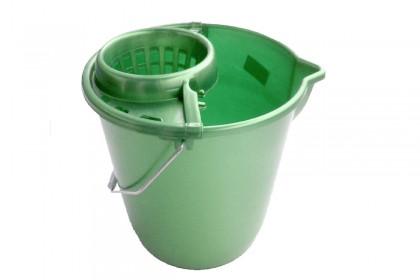 Кофа кръг с цедка и метална дръжка 12 l зелена металик