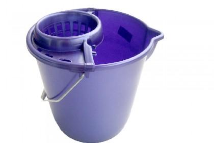 Кофа кръг с цедка и метална дръжка 12 l тъмно синьо