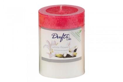 Свещ цилиндър бели цветя 90х68 mm  213 244007 10 DUFTI