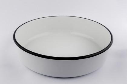 Тава кръгла ф 32 cm дълбока бяла EMAILUL